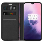 Leather Wallet Case & Card Holder Pouch for OnePlus 7 - Black